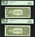 Error Notes:Ink Smears, Fr. 1915-H $1 1988A Federal Reserve Note. Two Examples. PCGSGraded.. ... (Total: 2 notes)