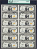 Small Size:World War II Emergency Notes, Fr. 2306 $1 1935A North Africa Silver Certificates. Uncut Sheet ofTwelve. PCGS Gem New 65PPQ.. ...