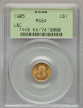 Commemorative Gold, 1905 G$1 Lewis and Clark Gold Dollar MS64 PCGS....