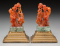 Asian:Chinese, A Pair of Chinese Carved Carnelian and Quartz Bookends:Guanyin. 7-1/8 inches high (18.1 cm). ... (Total: 2 Items)