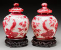 Asian:Chinese, A Pair of Beijing Red Overlaid White Glass Jars. 7-1/8 inches high(18.1 cm). ... (Total: 2 Items)