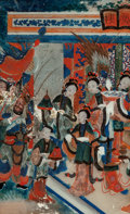 Asian:Chinese, Chinese School (20th Century). Court Scene. Pigment onglass. 18 x 11 inches (45.7 x 27.9 cm). ...