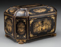 Paintings, A Chinese Export Lacquered Tea Caddy, 19th century. 5-3/4 h x 9-1/4 w x 6-3/4 d inches (14.6 x 23.5 x 17.1 cm). ... (Total: 2 Items)