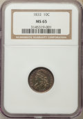 Bust Dimes: , 1833 10C MS65 NGC. NGC Census: (22/5). PCGS Population (15/4). Mintage: 485,000. CDN Wsl. Price for problem free NGC/PCGS c...