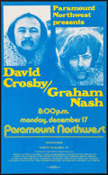 "Movie Posters:Rock and Roll, David Crosby/Graham Nash at the Paramount Northwest (ParamountNorthwest, 1972). Concert Window Card (13.5"" X 22""). Rock and..."