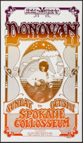 "Movie Posters:Rock and Roll, Donovan at the Spokane Colosseum (Head West, 1960s). Concert WindowCard (11.75"" X 20""). Rock and Roll.. ..."