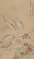 Works on Paper, Chinese School (20th Century). Fish and Shells. Ink and watercolor on paper. 24-3/8 x 14-1/4 inches (61.9 x 36.2 cm) (sh...