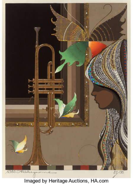 Tadashi Nakayama (Japanese, b. 1929)Girl with Trumpet, 1985Woodblock in colors23-1/2 x 17-1/4 inches (59.7 x 43.8 ...