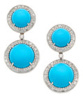 Estate Jewelry:Earrings, Turquoise, Diamond, Platinum, Gold Earrings. ... (Total: 2 Items)