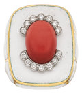 Estate Jewelry:Rings, Coral, Diamond, Enamel, Gold Ring, David Webb. ...