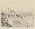 "Fine Art - Work on Paper:Drawing, Edward Muegge ""Buck"" Schiwetz (American, 1898-1984). DallasTerminal Station from the West Dallas Viaduct, 1925. Pencil ..."