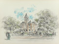 "Fine Art - Work on Paper:Drawing, Edward Muegge ""Buck"" Schiwetz (American, 1898-1984). DeWittCounty Courthouse, 1972. Pencil and watercolor on paperboard..."