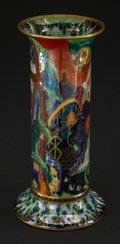 Ceramics & Porcelain, British:Modern  (1900 1949)  , A Wedgwood Fairyland Lustre Porcelain Torches and FlamingWheel Pattern Vase, Design by Daisy Makeig...