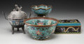 Asian:Chinese, A Group of Four Chinese Cloisonné Table Items. 8-3/4 inches high (22.2 cm) (tallest, censer). ... (Total: 4 Items)