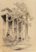 "Fine Art - Work on Paper:Drawing, Edward Muegge ""Buck"" Schiwetz (American, 1898-1984). JudgePalmer Homestead, Rusk and Labranch, 1927. Pencil on paper.9..."