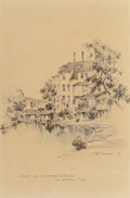 "Fine Art - Work on Paper:Drawing, Edward Muegge ""Buck"" Schiwetz (American, 1898-1984). Scene onSan Antonio River, San Antonio, Texas, 1924. Pencil and wa..."