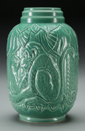 Ceramics & Porcelain, British:Modern  (1900 1949)  , A Wedgwood Art Deco Green Veronese Glazed Porcelain Vase:Monkeys, Modeled by Erling Olsen, Burslem (Stoke-on-Tr...
