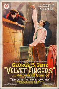 "Velvet Fingers (Pathé, 1920). One Sheet (27"" X 41""). Episode 10 -- ""Shots in the Dark."" Seria..."