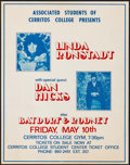 "Movie Posters:Rock and Roll, Linda Ronstadt with Dan Hicks at the Cerritos College Gym (ASCC,1970s). Jumbo Concert Window Card (22"" X 28""). Rock and Rol..."