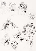 Original Comic Art:Sketches, John Buscema - Sketch and Character Study Page Wolverine Original Art (c. 1990s)....