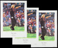 Golf Collectibles:Autographs, Greg Norman Signed Lithographs Lot of 3. ...