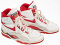 Basketball Collectibles:Others, B.J. Armstrong Game Worn, Signed Chicago Bulls Shoes....
