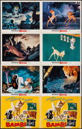 """Movie Posters:Animation, Bambi (Buena Vista, R-1966). Title Lobby Cards (2) (Identical)& Lobby Cards (6) (11"""" X 14""""). Animation.. ... (Total: 8 Items)"""