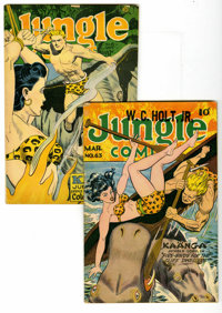 Jungle Comics #63 and 81 Group (Fiction House, 1945-46). Includes #63 (George Tuska art, VG+, Cosmic Aeroplane pedigree)...