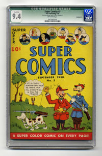 Super Comics #5 (Dell, 1938) CGC Qualified NM 9.4 Off-white pages. This is one of only two copies of #5 that CGC has cer...