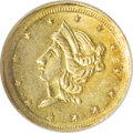 California Fractional Gold, 1854 50C Liberty Round 50 Cents, BG-436, R.6--Bent--NCS. UncDetails....