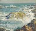 Fine Art - Painting, American:Modern  (1900 1949)  , GEORGE WILLIAM SOTTER (American 1879-1953). Untitled, A RockyCoast. Oil on artistboard. 10 x 11-3/8 inches (25.4 x 28.9...
