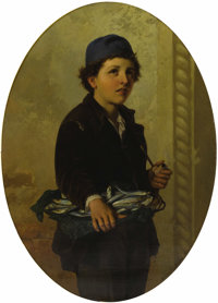ANTONIO ERMOLAO PAOLETTI (Italian 1834-1912) Young Boy with Fish, 1872 Oil on canvas 38-1/2 x 28-