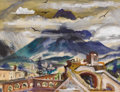 Texas:Early Texas Art - Regionalists, LLOYD GOFF (1908-1982). Volcano (Agua) Antiqua, Guatemala,1940s. Watercolor and gouache on paper. 13 x 17 inches (33.0 ...