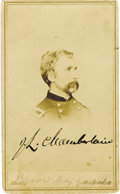 Autographs:Military Figures, Joshua Chamberlain: A Rare Signed Brady Carte de Visite of the Hero of Little Round Top This is a very scarce item; the...