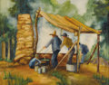 Texas:Early Texas Art - Regionalists, KATHRYNE HAIL TRAVIS (1894-1972). Sorghum Making in theOzarks, late 1920s-early 1930s. Watercolor on paper. 15 x 19inc...