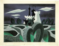 animation art:Production Cel, Mary Blair - Alice in Wonderland Concept Animation Original Art(Walt Disney, 1951)....