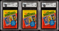 Basketball Cards:Unopened Packs/Display Boxes, 1980 Topps Basketball GAI Graded Unopened Wax Pack Trio (2)...