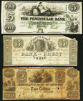 Obsoletes By State:Michigan, A Trio of Michigan Obsolete Bank Notes 1837-ca. 1860. ... (Total: 3 notes)