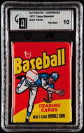 Baseball Cards:Unopened Packs/Display Boxes, 1975 Topps Unopened Wax Pack GAI Perfect 10....
