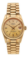 Estate Jewelry:Watches, Rolex Unisex Gold Oyster Perpetual Datejust Watch, circa 1980. ...