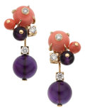 Estate Jewelry:Earrings, Coral, Amethyst, Diamond Earrings, Cartier, French. ... (Total: 2Items)