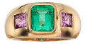 Estate Jewelry:Rings, Emerald, Pink Sapphire, Gold Ring. ...