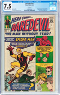 Silver Age (1956-1969):Superhero, Daredevil #1 UK Edition (Marvel, 1964) CGC VF- 7.5 Off-white towhite pages....