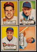 Baseball Cards:Lots, 1952 Topps Baseball Lot (4) With Feller and Hodges. ...