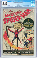 Silver Age (1956-1969):Superhero, The Amazing Spider-Man #1 UK Edition (Marvel, 1963) CGC VF+ 8.5Off-white to white pages....