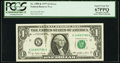Error Notes:Ink Smears, Fr. 1909-K $1 1977 Federal Reserve Note. PCGS Superb Gem New67PPQ.. ...