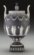 Decorative Arts, British:Other , A Wedgwood Black Jasperware Covered Urn with Neoclassical Motif,Burslem (Stoke-on-Trent), Staffordshire, England, circa 186...