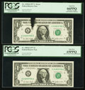 Error Notes:Ink Smears, Fr. 1909-K $1 1977 Federal Reserve Notes. Two Consecutive Examples. PCGS Graded.. ... (Total: 2 notes)
