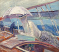 Paintings, Paul César Helleu (French, 1859-1927). Madame Helleu aboard the yacht 'Bird'. Oil on canvas. 23 x 25-1/2 inches (58.4 x ...
