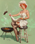 Pin-up and Glamour Art, Gil Elvgren (American, 1914-1980). A Lot at Steak, Brown &Bigelow calendar illustration, 1955. Oil on canvas. 30 x 24i...